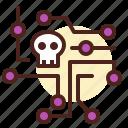 broken, intelligence, network, skull