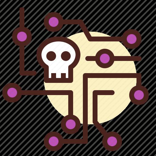 broken, intelligence, network, skull icon