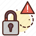 lock, secured, unlock, warn icon