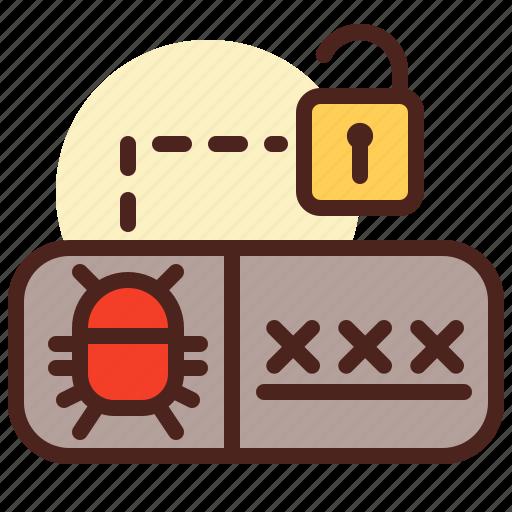 code, debug, login, password, pin, unlock icon