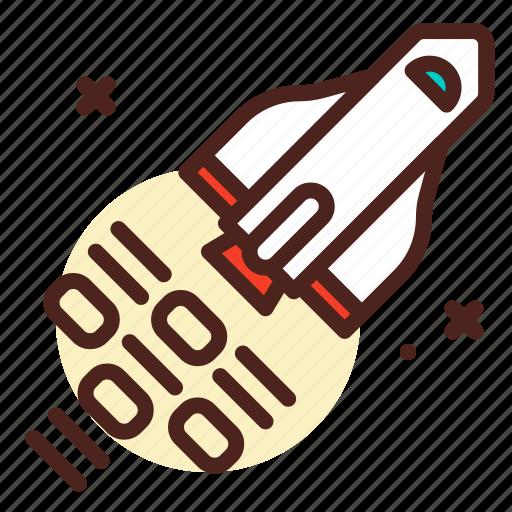 code, decode, rocket, space icon