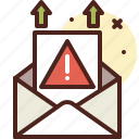 warning, message, email, sending icon