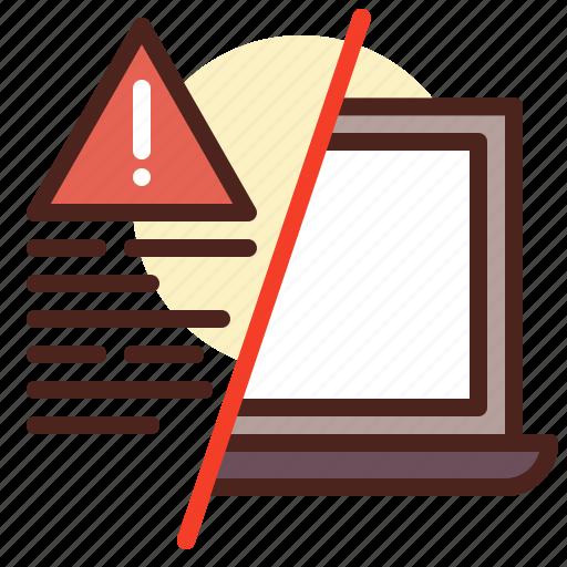 decode, laptop, transfer, warn icon