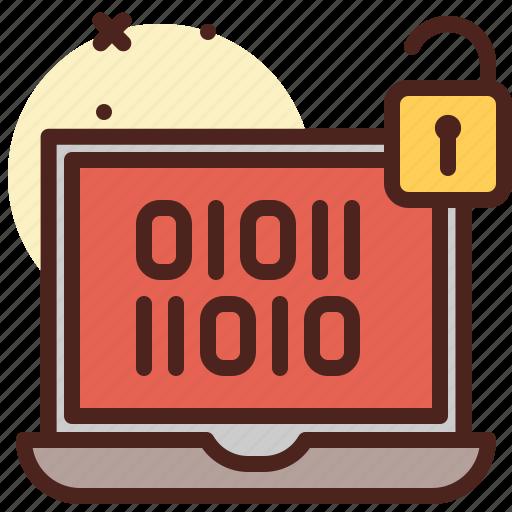 code, secured, unlock, warn icon