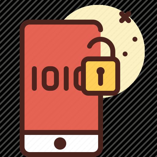mobile, secured, unlock, warn icon