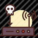 death, internet, network, skull, wifi icon