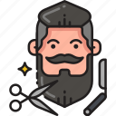 beard, haircut, hipster, man, moustache, mustache, trim icon