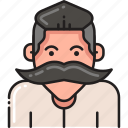 beard, hipster, male, man, moustache, mustache, person icon