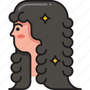 hair, hairstyle, lady, long hair, perming, wavy, woman icon