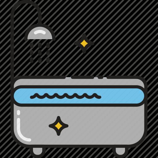 bath, bathroom, bathtub, hygiene, shower, tub, wash icon