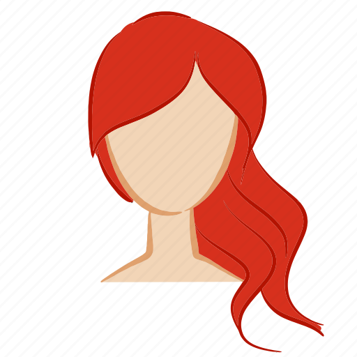 beauty, face, girl, hair, head, red, woman icon