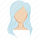 beauty, blue, face, girl, hair, head, woman icon