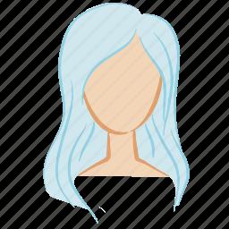 beauty, blue, face, girl, hair, head, woman icon