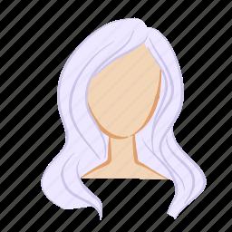 beauty, face, girl, hair, head, purple, woman icon