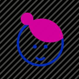 avatar, bun, female, fringe, girl, people, teenager icon