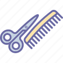 barbershop, comb, scissors, scissors and comb, shears icon