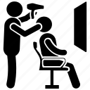 barber, beauty shop, hair salon, hair stylist, hairdressing studio icon