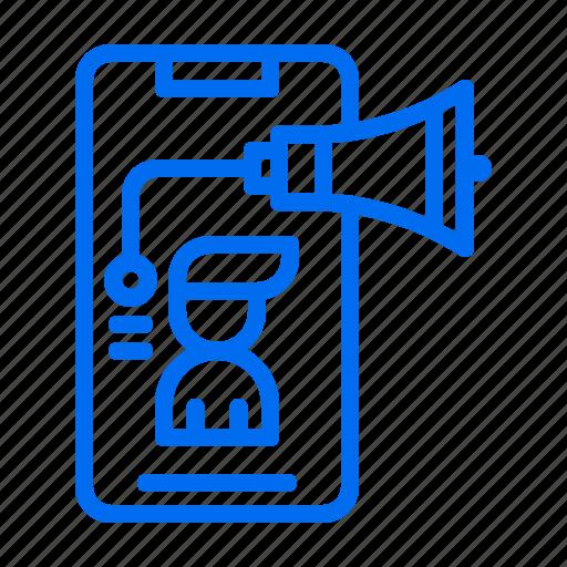 advertising, marketing, megaphone, person, phone icon