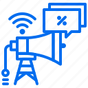 broadcast, discount, marketing, megaphone, tower, wifi icon