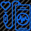 diagnose, heart, phone, pulse icon