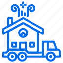 building, delivery, house, sale, transport, truck icon