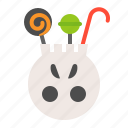 bucket, candy, halloween, halloween bucket, lollipop, sweets, trick or treat icon