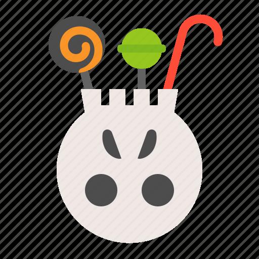 bucket, candy, halloween, halloween bucket, lollipop, sweets, trick or treat icon