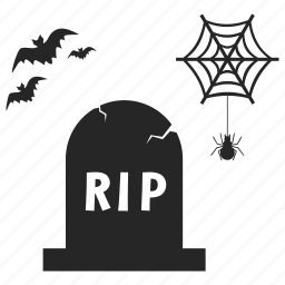 bug, grave, gravestone, graveyard, ripbats, spider icon