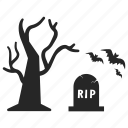 grave, halloween, hanging, night, rip, spider, tree icon