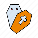coffin, cross, death, funeral, halloween icon