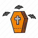 coffin, cross, death, halloween, hand, mummy