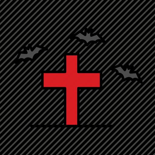 bat, cross, death, funeral, grave, halloween, rip icon