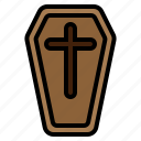 casket, cemetery, coffin, cross, death, halloween, spooky icon