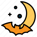bat, crescent, halloween, horror, moon, scary, star