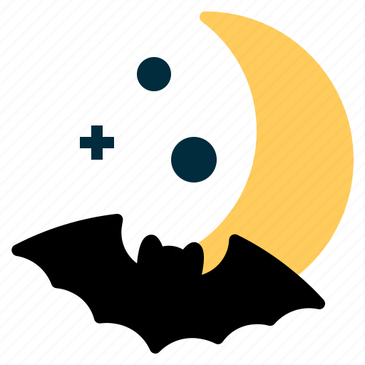 bat, crescent, halloween, horror, moon, spooky, star icon