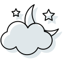 clouds, halloween moon, moon, stars, sundown, weather icon icon