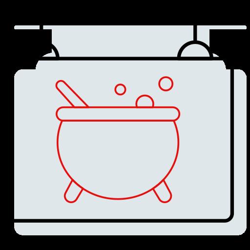 board, cauldron, halloween, hanging, shop, sign icon