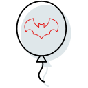 ballon, ballon icon, bat, halloween, halloween icon, horror, outline icon icon