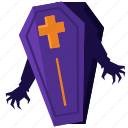 awake, awakening, coffin, halloween, nightmare, rise, zombie icon