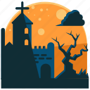 church, graveyard, halloween, night, scary, tree icon