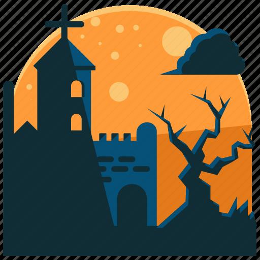 church, graveyard, halloween, night, scary, tree icon