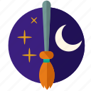 broom, halloween, moon, scary, star, witch icon