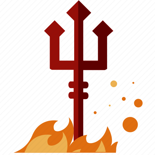 devil, evil, fire, flame, halloween, nightmare, trident icon