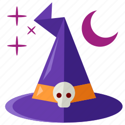halloween, hat, moon, scary, stars, witch icon