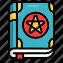 wizard, sorcery, book, magic icon