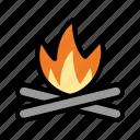 bonfire, camping, fire, burn, flame