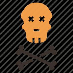 bones, caution, crossbones, danger, jolly roger, pirate, skull icon