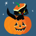 cat, halloween, holiday, horror, pumpkin, scary, spooky icon