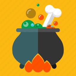 bone, cauldron, death, halloween, october, poison, potion icon