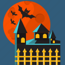 bat, castle, halloween, october, vampire, wing icon